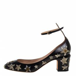 Valentino Black Leather Star Embroidered Tango Pumps Size 39.5 320805