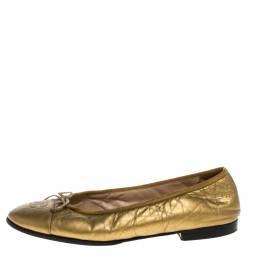 Chanel Metallic Gold Crinkled Leather CC Bow Cap Toe Ballet Flats Size 39 320278