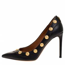 Valentino Black Leather Coin Embellished Pointed Toe Pumps Size 39.5 316385