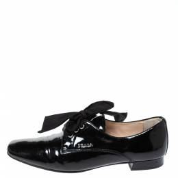 Prada Black Patent Leather Lace Up Derby Size 37.5 317935