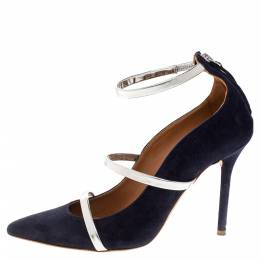 Malone Souliers Navy Blue Suede Robyn Ankle Strap Pumps Size 37 318132