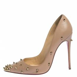 Christian Louboutin Beige Spike Embellished Leather Degraspike Pointed Toe Pumps Size 37.5 316799