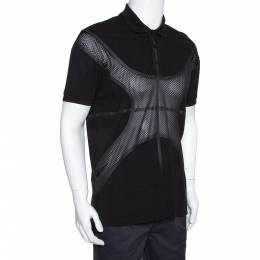 Givenchy Black Cotton Pique Mesh Paneled Oversized Polo T Shirt XS 318560