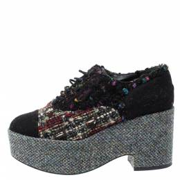 Chanel Multicolor Tweed And Felt Lace Up Platform Sneaker 38.5 313769