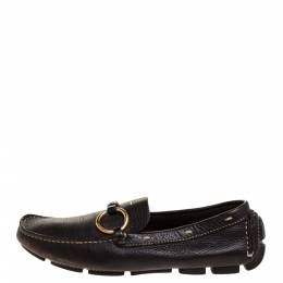 Prada Dark Brown Grained Leather Ring Buckle Loafers Size 35 315105