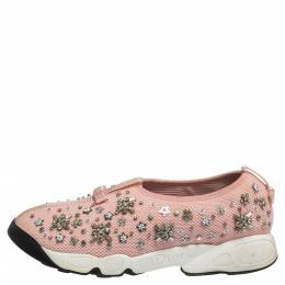 Dior Light Pink Crystal Embellished Fusion Slip On Sneakers Size 39 313003