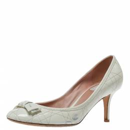 Dior White Cannage Patent Leather Bow Pumps Size 38 310543