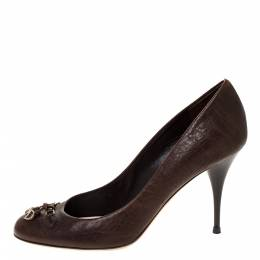 Dior Brown Leather CD Logo Bow Round Toe Pumps Size 38.5 309772