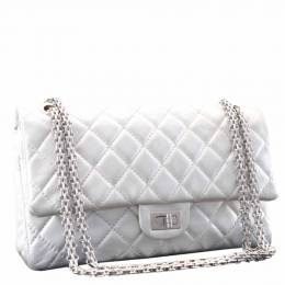 Chanel Silver Lambskin Leather Chain Shoulder Bag 309627