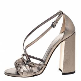 Bottega Veneta Metallic Bronze Intrecciato Leather Block Heel Sandals Size 35 309445