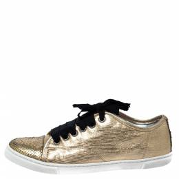Lanvin Golden Python Embossed Leather Low Top Sneakers Size 38 306993