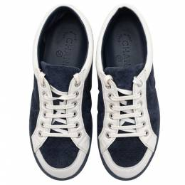 Chanel Blue/White Suede Leather CC Low Top Sneakers Size 37 360059