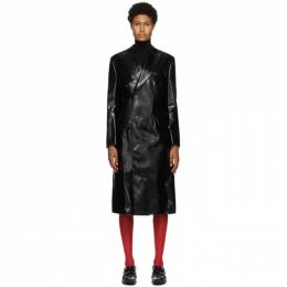 Junya Watanabe Black Faux-Leather Double-Breasted Coat JF-C029-051