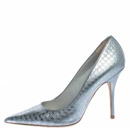 Dior Metallic Silver Cannage Leather Cherie Pointed Toe Pumps Size 40 324836