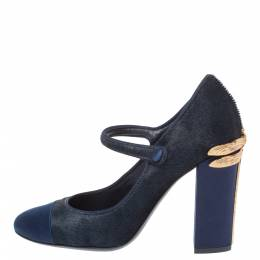 Tory Burch Navy Blue Calf Hair and Satin Dragon Fly Heel Mary Jane Pumps Size 37 325111