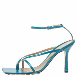 Bottega Veneta Blue Leather Square Toe Ankle Strap Sandals Size 39 320960
