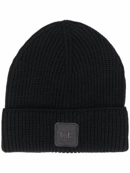 C.P. Company logo-patch ribbed beanie hat 09CMAC241A