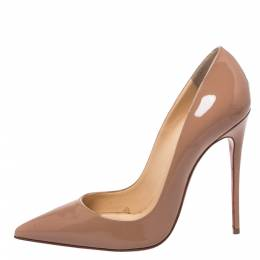 Christian Louboutin Nude Beige Patent Leather So Kate Pumps Size 37.5 325123