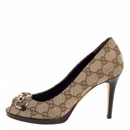 Gucci Beige GG Canvas New Hollywood Horsebit Peep Toe Pumps Size 36 325524