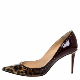 Christian Louboutin Brown Leopard Print Patent Leather Spiked Pointed Toe Pumps Size 40 326452