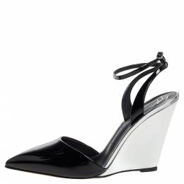Giuseppe Zanotti Design Black/Silver Patent Leather Yvette Wedge Pointed Toe Pumps Size 38 326417
