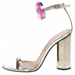Marco de Vincenzo Metallic Silver Leather Chunky Jewel Embellished Ankle Strap Sandals Size 37 326714