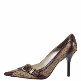 Dior Brown Canvas And Leather Buckle Pointed Toe Pumps Size 37.5 326083
