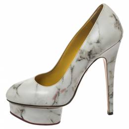 Charlotte Olympia White/Grey Marble-Print Leather Dolly Platform Pumps Size 37 326809