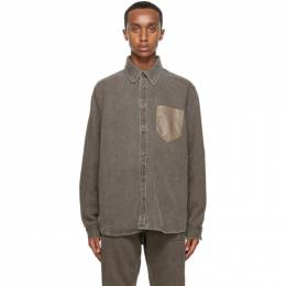 Nanushka Brown Linen Dome Shirt NM20PFSH01176