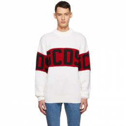 Gcds White and Red Logo Sweater CC94M021150
