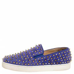 Christian Louboutin Lavander Suede Roller Boat Crystal and Spike Slip On Sneakers Size 38.5 327971