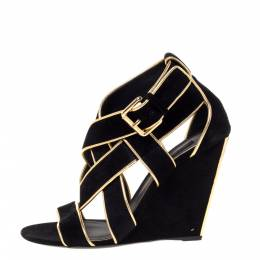 Louis Vuitton Black Suede And Gold Leather Trim Strappy Wedge Sandals Size 38.5 328086