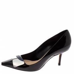 Dior Black Patent Leather Dior Eye Pointed Toe Pumps Size 36 328291