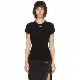Off-White Black Ribbed T-Shirt OWAD138F20JER0011001