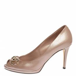 Gucci Pink Nice Guccissima Patent Leather New Hollywood Horsebit Peep Toe Pumps Size 39.5 326662