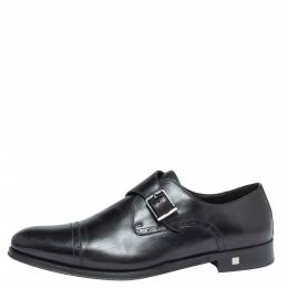 Balmain Black Leather Brogue Detail Single Monk Strap Shoes Size 41 327530