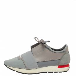 Balenciaga Grey Mesh And Leather Race Runner Sneakers Size 41 328770