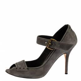 Manolo Blahnik Grey Suede Leather Peep Toe Ankle Strap Sandals Size 39 329526