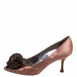 Giuseppe Zanotti Design Nude Pink/Green Satin Floral Applique Pointed Toe pumps Size 41 328120