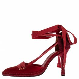 Castaner By Manolo Blahnik Red Satin And Canvas Espadrille Pointed Toe Ankle Tie Sandals Size 39 327918
