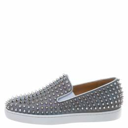 Christian Louboutin Metallic Silver Leather Roller Boat Spiked Slip On Sneakers Size 40 330617