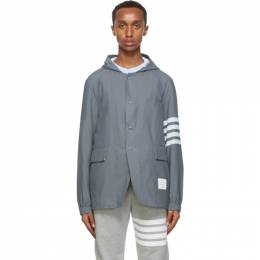 Thom Browne Grey Ripstop Unconstructed 4-Bar Jacket MJU528A-06145