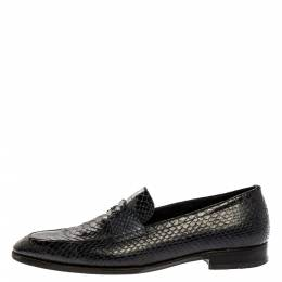 Dior Black Python Leather Penny Loafers Size 44 333576