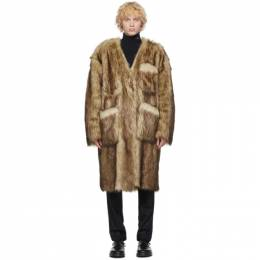 Raf Simons Reversible Black and Off-White Faux-Fur Labo Coat 202-639