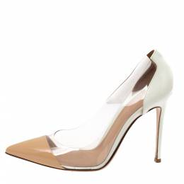 Gianvito Rossi White/Beige Patent Leather and PVC Plexi Pointed Toe Pumps Size 39 333960