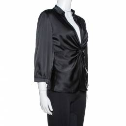Armani Collezioni Black Silk Satin Twisted Knot Detail Top M 331944