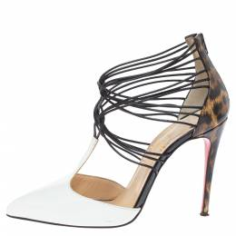Christian Louboutin White/Brown Leopard Print Leather Confusa Pointed Toe Pumps Size 35.5 330418