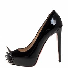 Christian Louboutin Black Patent Leather and Suede Asteroid Platform Pumps Size 38 333926