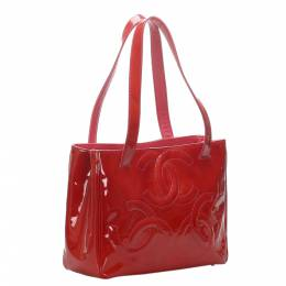 Chanel Red Patent Leather Triple Coco Tote Bag 333283
