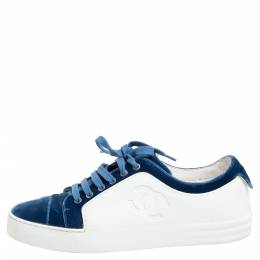 Chanel Blue/White Rubber and Velvet CC Trainer Low Top Sneakers Size 38.5 334231